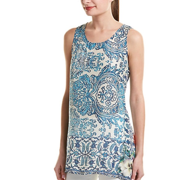 a025935865 Johnny Was Tops - JOHNNY WAS~Baroque Floral 100% Silk Tank Tunic~M